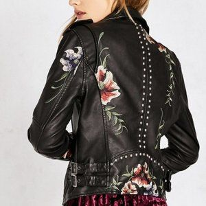 Blanknyc Floral Embroidered Moto Jacket